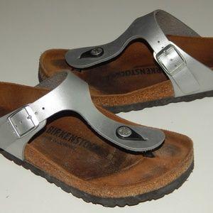 BIRKENSTOCK Gizeh silver thongs sandals women 36 5